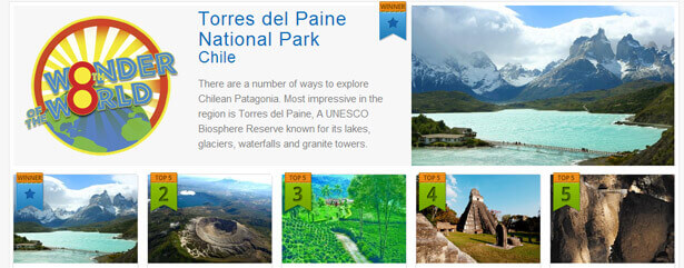 Torres del Paine is officially chosen as the Eighth Wonder of the World